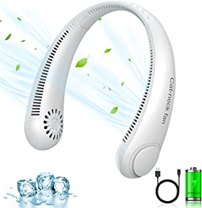 Portable Neck Fan, Hands Free Bladeless Fan, USB Rechargeable 4000mAh Battery Operated Personal Fan, Headphone Design for Sport, Office, Home Outdoor Travel, 62 Surround Air Outlets(White)