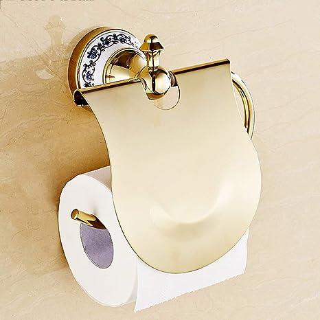 ZXQZ Sostenedor de la toalla de papel, europeo Oro azul y blanco Porcelana Baño titular