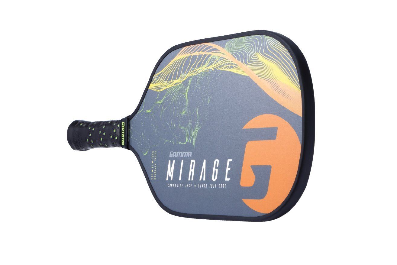 Gamma Mirage Composite Pickleball Paddle: Pickle Ball Paddles for Indoor & Outdoor Play - USAPA Approved Racquet for Adults & Kids - Orange/Green by Gamma (Image #6)