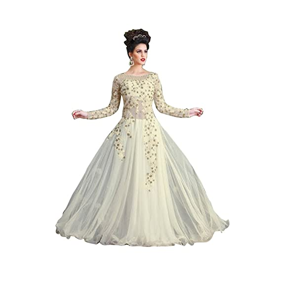 Buy Rudra Fashion Women S Net Gown White Free Size At Amazon In