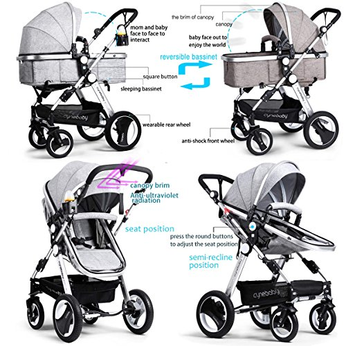 61QL19Oe24L - Infant Toddler Baby Stroller Carriage - Cynebaby Compact Pram Strollers Single Stroller Add Cup Holder Footmuff Stroller Tray (Gray)