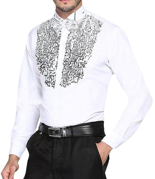 23f08c38 Cromoncent Men Disco Night Stag Party Metallic Ruffle Button Down Shirt  Dance Fancy Dress White XS