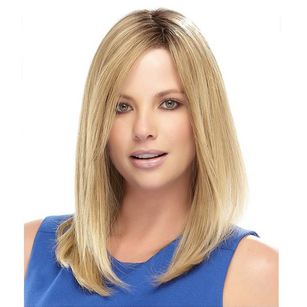 ELIM Short Blonde Hair Wigs for Women Shoulder Length Women's Ombre Wig Silky Straight Heat Resistant Yaki Synthetic Hair Z101