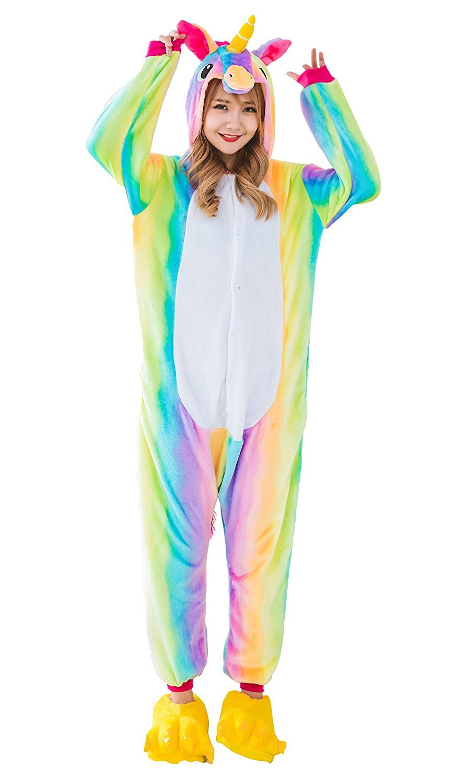 YACHUN Adult Unicorn Pajamas Animal Costume Cosplay Onesie Halloween Gift Rainbow M