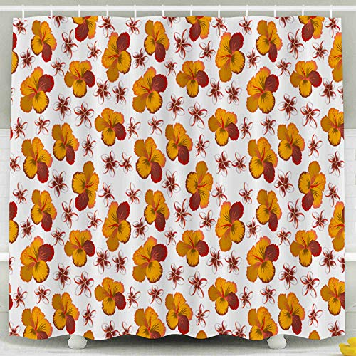 ROOLAYS White Shower Curtain, Design in Red Orange Brown Colors Invitation Wedding Greeting Card Floral Pattern Hibiscus Flowers Decorative for Home Décor 78x72 Inch Bathroom Fabric Shower Curtains