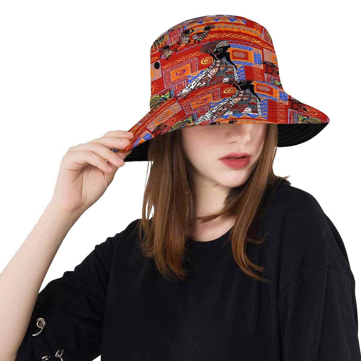 8bf6eebf6fa82 INTERESTPRINT African Print Pattern Bucket Hats Outdoor Sun Hats at Amazon  Women s Clothing store