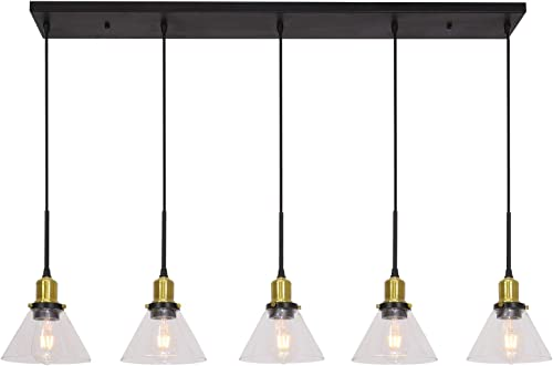 Lucidce 5 Lights Pendant Lighting for Kitchen Island Modern Chandeliers Black and Brushed Brass Dining Room Lighting Fixtures Hanging Finish with Cone Clear Glass
