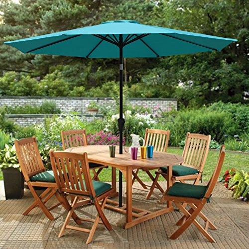 Octagon Patio Table - PATIOROMA 9 Feet Aluminum Patio Umbrella Outdoor Market Umbrella with Crank, 8 Steel Ribs,Polyester Canopy, Turquoise