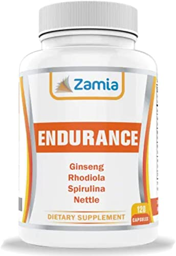 100 Plant-Based Cardio-Boost Panax Ginseng, Rhodiola Rosea, Spirulina, Nettle -120 Vegan Capsules w High Ginsenosides, Rosavins and Aminos for Energy, Endurance, Performance, Mood Focus