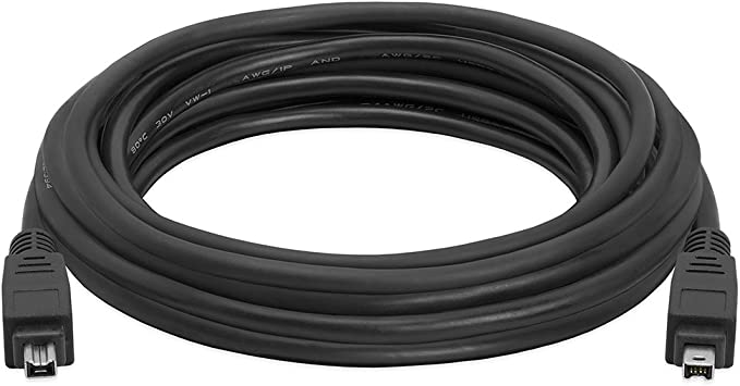 4P Male to Male 15ft Black by ASW IEEE-1394 FireWire iLink DV Cable 4P