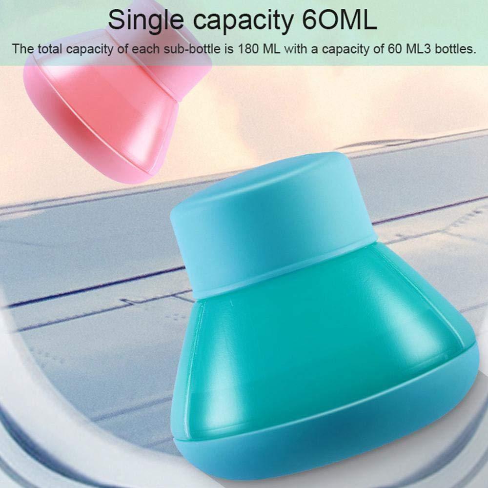 l/épreuve des fuites Portable Set conteneurs de toilette Pratique 3 en 1 Bouteilles de voyage Kit Bouteille Set pour toilette Voyage