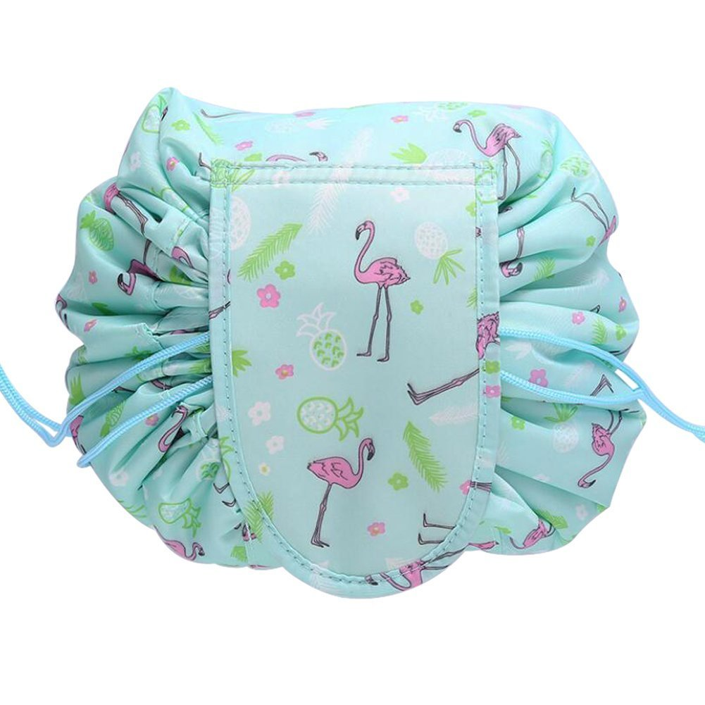 Gracelife Magic Travel Pouch Lazy Portable Quick Pack Drawstring Makeup Bag Waterproof Zippered Cosmetic Storage Bag (Green Flamingo)