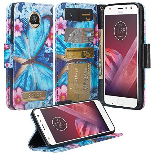 Compatible Motorola Moto Z2 Force Droid Case, Moto Z2 Play Droid Wallet Case, Wrist Strap Flip Folio [Kickstand] Pu Leather Wallet Case with ID&Credit Card Slot for Moto Z2 Force (Blue Butterfly)