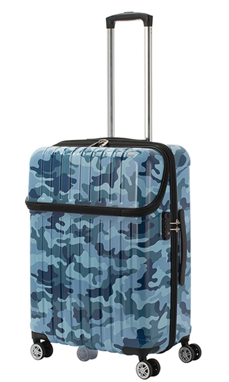 アクタス ACTUS トップオープン スーツケース 74-20372 ジッパーハード 59L 迷彩 ブルー 代引き不可 ブルー[bc-1] B07V5TGJFH