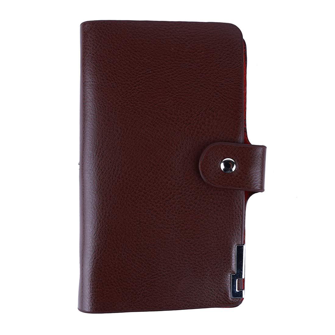 VWH PU Cuir Hommes Portefeuille Bourse Style d'affaires Portefeuille Long Zipper Wallet Clutch Phone Bag(Marron)