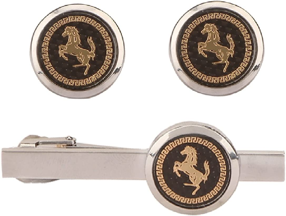 TRIPIN Men's Silver Brass Cufflinks Set with Royal Logo and Matching Tie Pin in A Gift Box