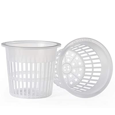 6 inch Net Cups Cz All Star Round Heavy Duty Pots Wide Lip Design - Orchids • Aquaponics • Aquaculture • Hydroponics Slotted Mesh by Cz Garden Supply (Clear) : Garden & Outdoor