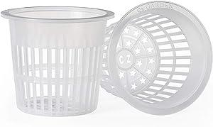 5 inch Clear Orchid Net Pots Heavy Duty Round Cups Wide Rim Design • Aquaponics • Aquaculture • Hydroponics Slotted Mesh (Cz All Star 24 Clear Pots)