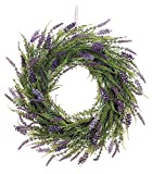 20 Inch Artificial Lavender Wreath On Twig Base