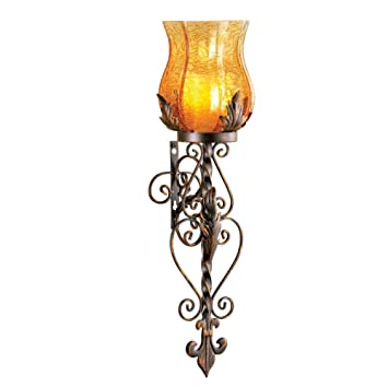 Battery Powered Antique Glass And Iron Casted Wall Sconce Candle Holder,  Antique Brown