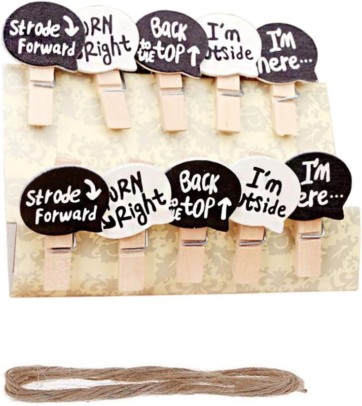 Vpang 50 Pcs Mini Natural Wooden Cartoon Conversation Speech Bubble Design Clothespins Photo Paper Card Peg Pin Craft Clips with Jute Twine