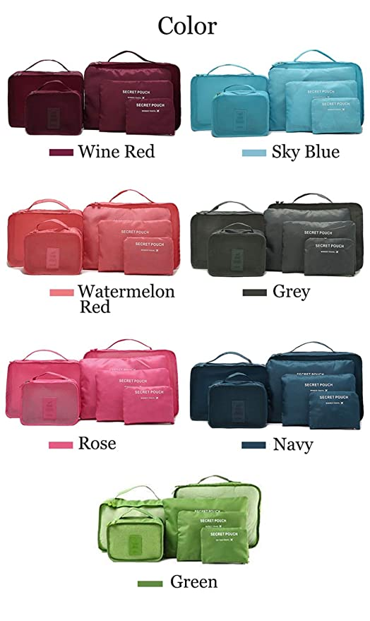 Image Unavailable. Image not available for. Color  Tuersuer Easy to  Assemble Garment Bag 6Pcs Waterproof Travel Storage Bags Packing Cube  Clothes Pouch ... 8effe6643a32e