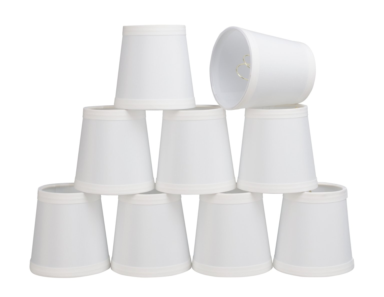 32047-9 Small Hardback Empire Shape Chandelier Clip-On Lamp Shade Set (9 Pack), Transitional Design in Off-White, 4'' bottom width (3'' x 4'' x 4'')