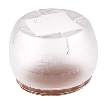 8 PACK   Transparent Caps Felt Pads For Chairs Or Furniture Leg Feet. Round  /
