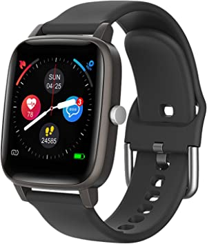 Smart Watch for iPhone Android, LCW Fitness Tracker Health Watch w/Heart Rate Blood Oxygen Monitor, Body Temperature, 1.4