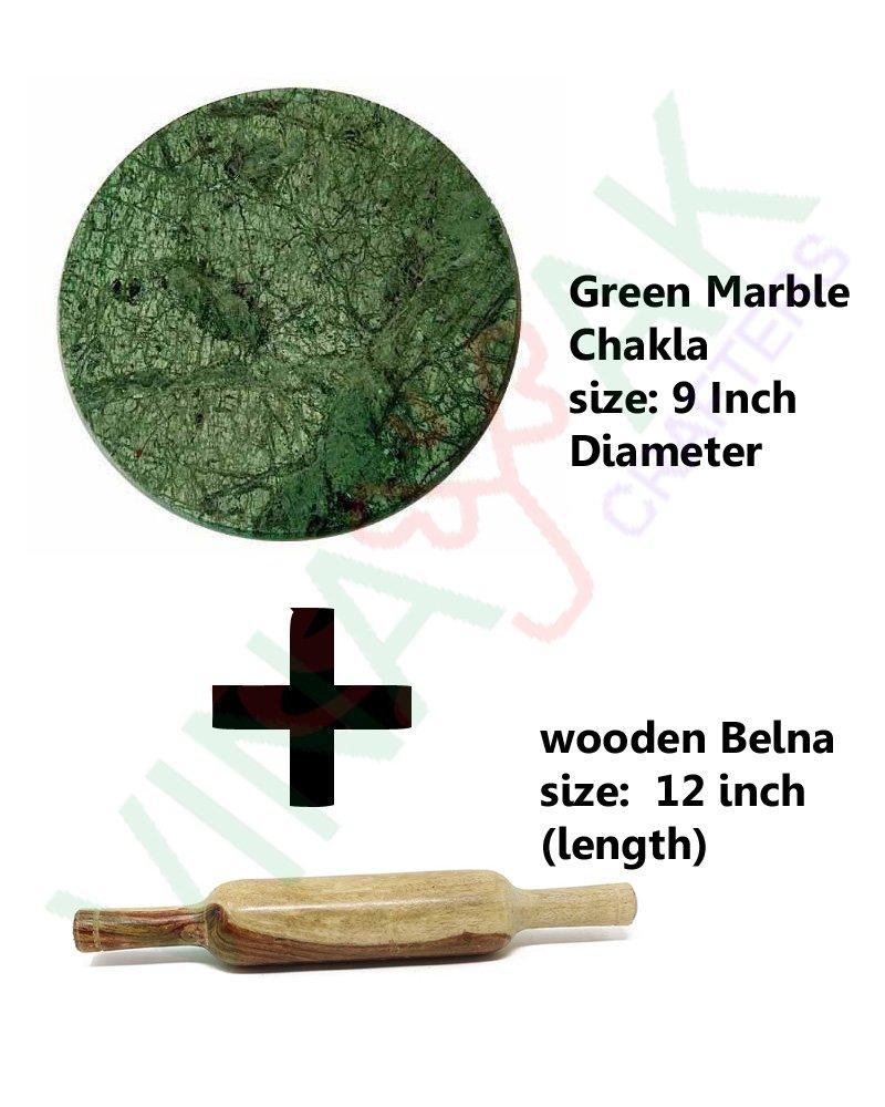 VINAYAK CRAFTERS Green Marble Roti Roller/Chakla-Belan/Rolling Pin, 22 Cms product image