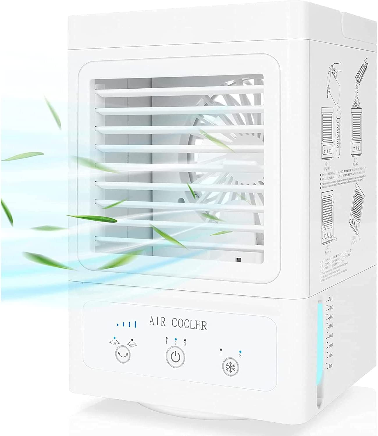 Portable Air Conditioner, 5000mAh Rechargeable Battery Auto Oscillation 700ml Water Tank Personal Mini Air Cooler with 3 Wind Speeds, 3 Cooling Levels, Perfect for Office Desk, Dorm, Bedroom and Outdoors