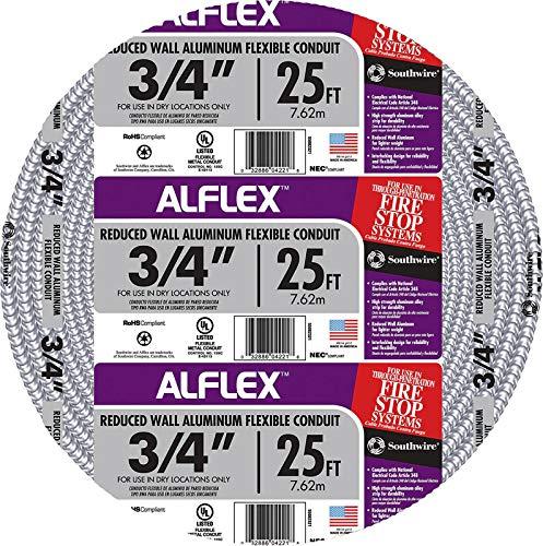 - Southwire 55082321 Aluminum Flexible Metal Conduit, Silver