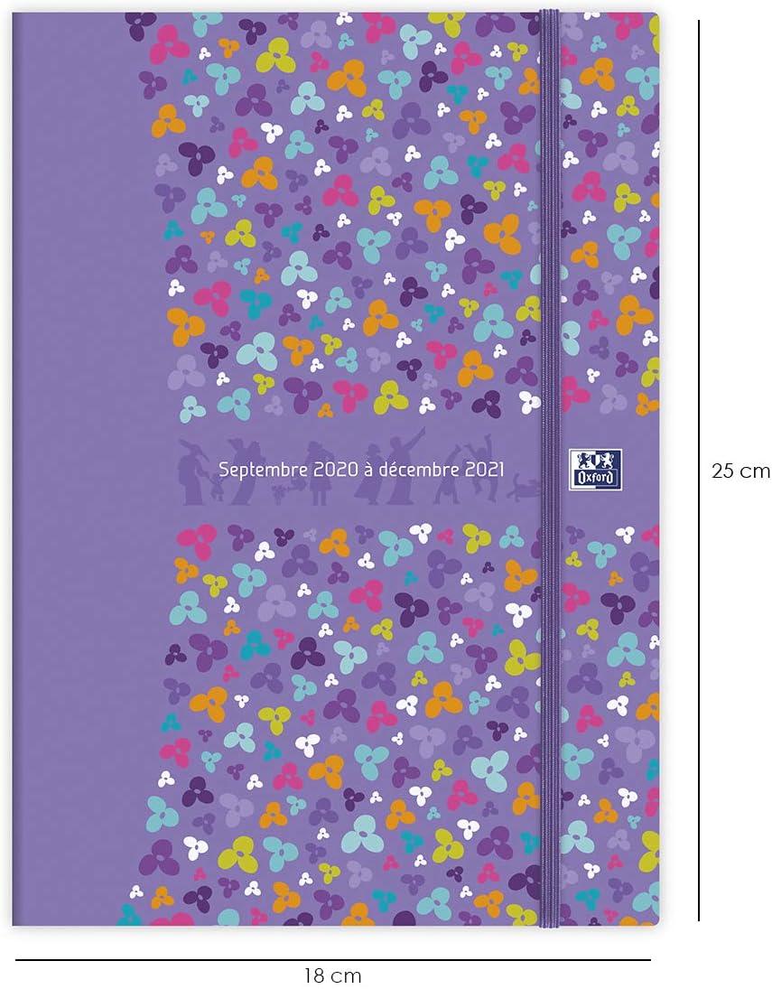 Oxford Agenda Famille 16 Mois de Sept 2020 D/éc 2021 Format 18x25cm Semainier 208 Pages Couverture Couleur Bleu