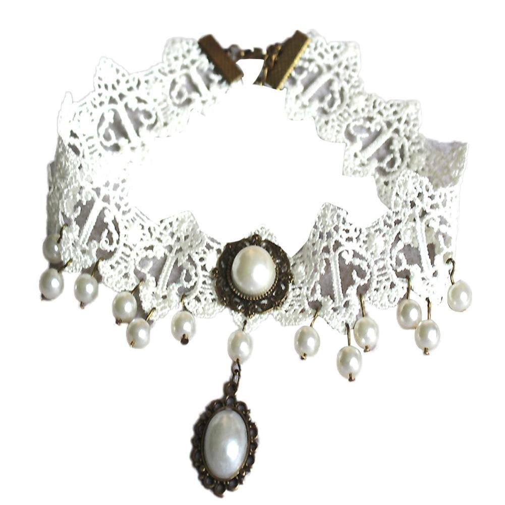 Quaanti Fashion Imitation Pearl Necklaces For Women 2018 Retro Vintage Lace Necklace Collar Gothic Choker Necklace White