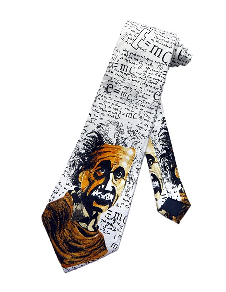 Steven Harris Mens Einstein Science Teacher Necktie - White - One Size Neck Tie