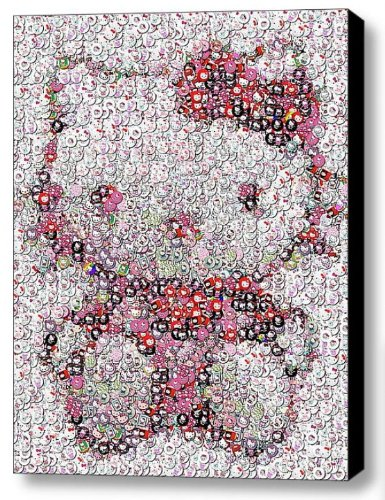 Incredible Framed Hello Kitty Buttons Mosaic  Edition Art Print