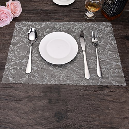 OZCHIN Placemats Dining Kitchen Table Non-slip Insulation Placemat Washable Table Mats Set of 4 Silver by OZCHIN (Image #4)'