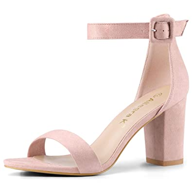 23145f21c53 Allegra K Women's Chunky High Heel Ankle Strap Sandals (Size US 5.5) Light  Pink