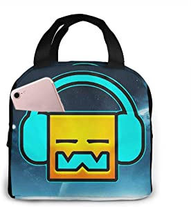 Lunch Bags For Men Women, Geometry Dash Robtop Games Insulated Durable Lunch Box Tote Bag Cooler Bag For Work School Picnic Travel Beach