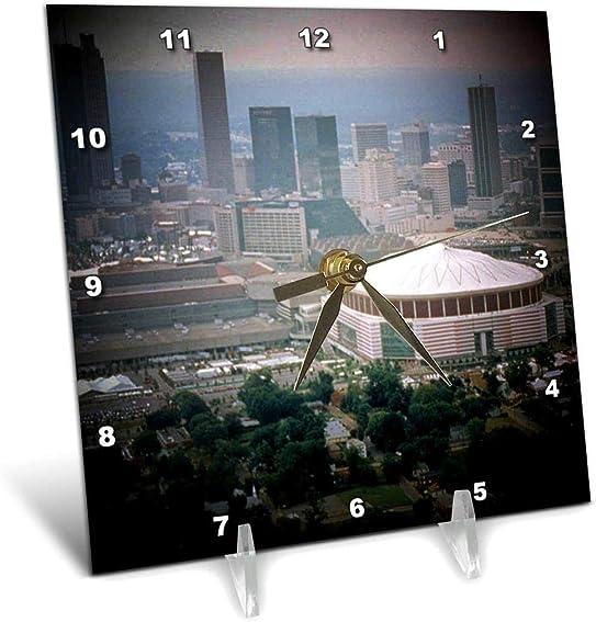 3dRose dc_26322_1 Atlanta Skyline with Sports Complexes Spotlight-Desk Clock, 6 by 6-Inch