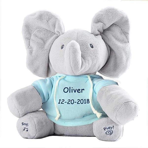 Personalized Peek A Boo Plush Toy (Flappy Peek A Boo Elephant) (Color: Flappy Peek A Boo Elephant)