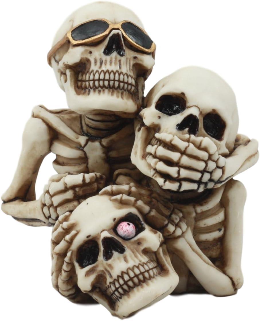 See Hear Speak No Evil Stacked Up Funny Skeletons Skull Figurine Pen Holder Wise Skeletons