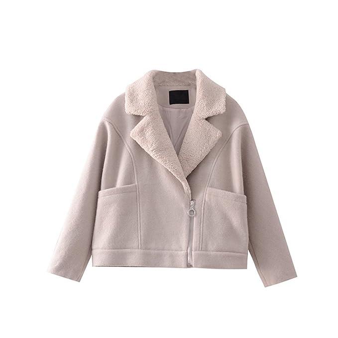 Corderos de invierno lana lana gruesa capa mujer corto, de modo que los abrigos, todo el código, beige: Amazon.es: Ropa y accesorios