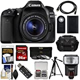 Canon EOS 80D Wi-Fi Digital SLR Camera & EF-S 18-55mm IS STM Lens with 64GB Card + Battery + Case + Flash + Tripod + 3 Filters + Kit