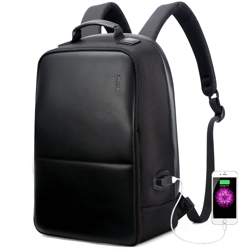 Bopai Anti-Theft Business Backpack 15.6 Inch Laptop Water-Resistant with USB Port Charging Travel Bag Anti-Glare Functional Rucksack Light-Weight Backpack for Men (15.6 inch, Black)
