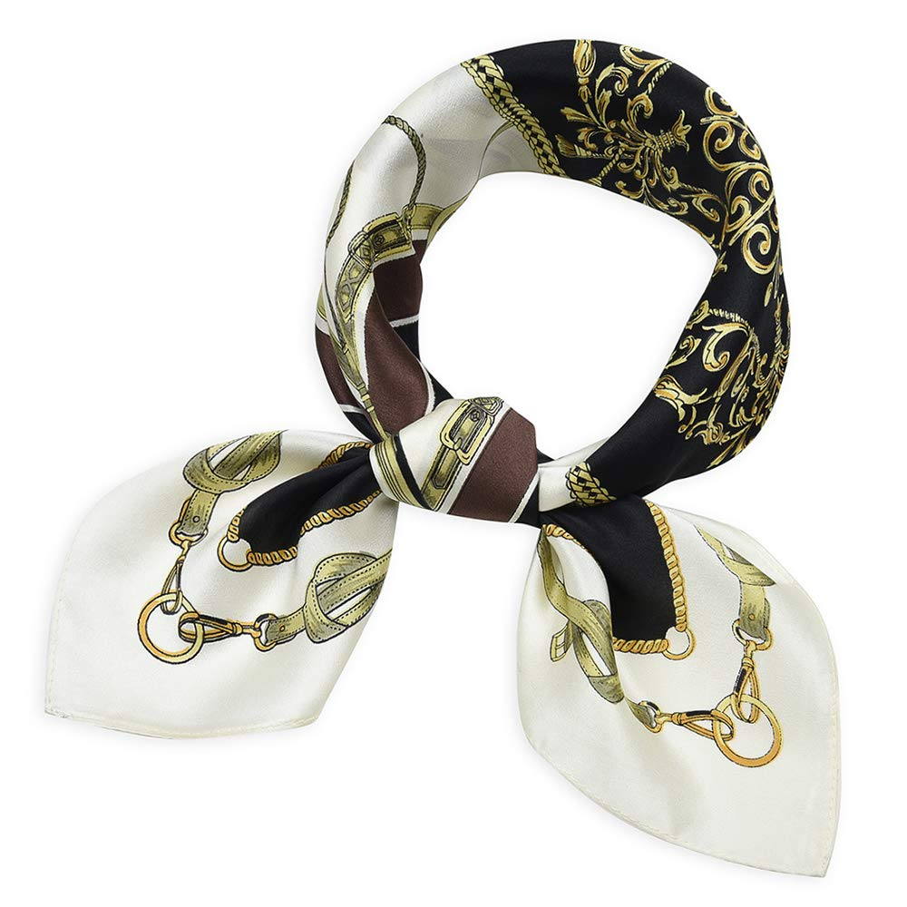 Women's Small Square 100% Real Mulberry Silk Scarfs Scarves 21'' x 21'' Belts Black and Coffee