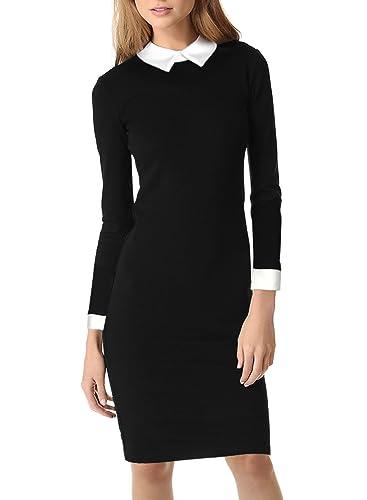 Miusol Women's Formal Polo Neck Long Sleeve Slim Business Pencil Dress