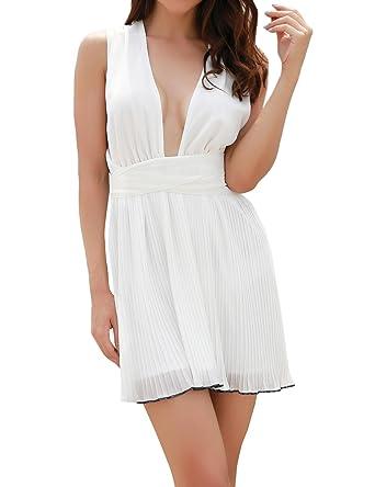 Smalltile Été Femmes Court Robe avec Bandage Sexy Col V Profond Dos Nu Robes  de Fête 53188517007