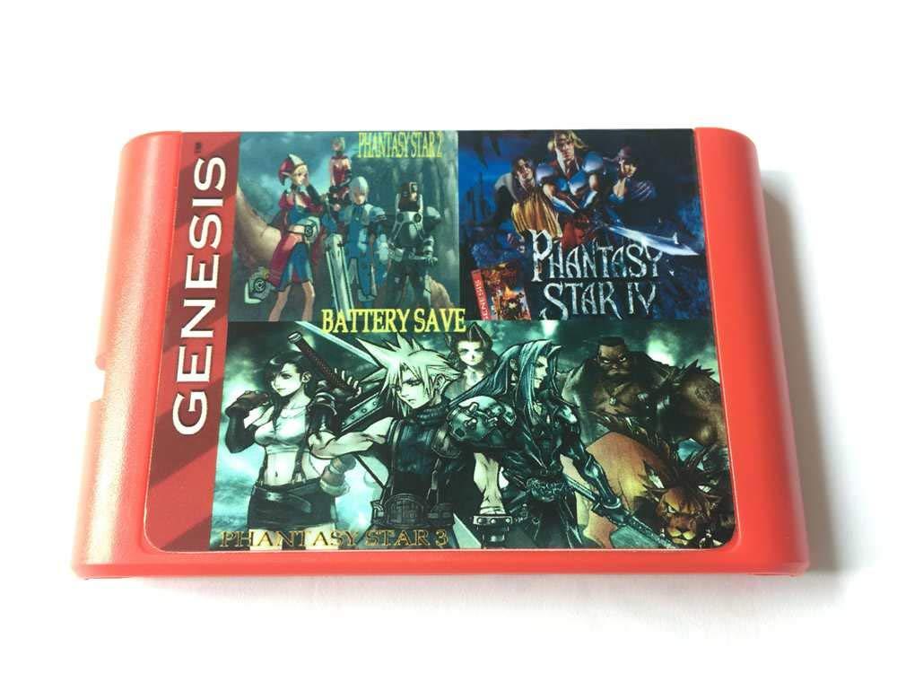 super games 3 in 1 sega genesis game cartridge with phantasy star III phantasy star IIII phantasy star IV