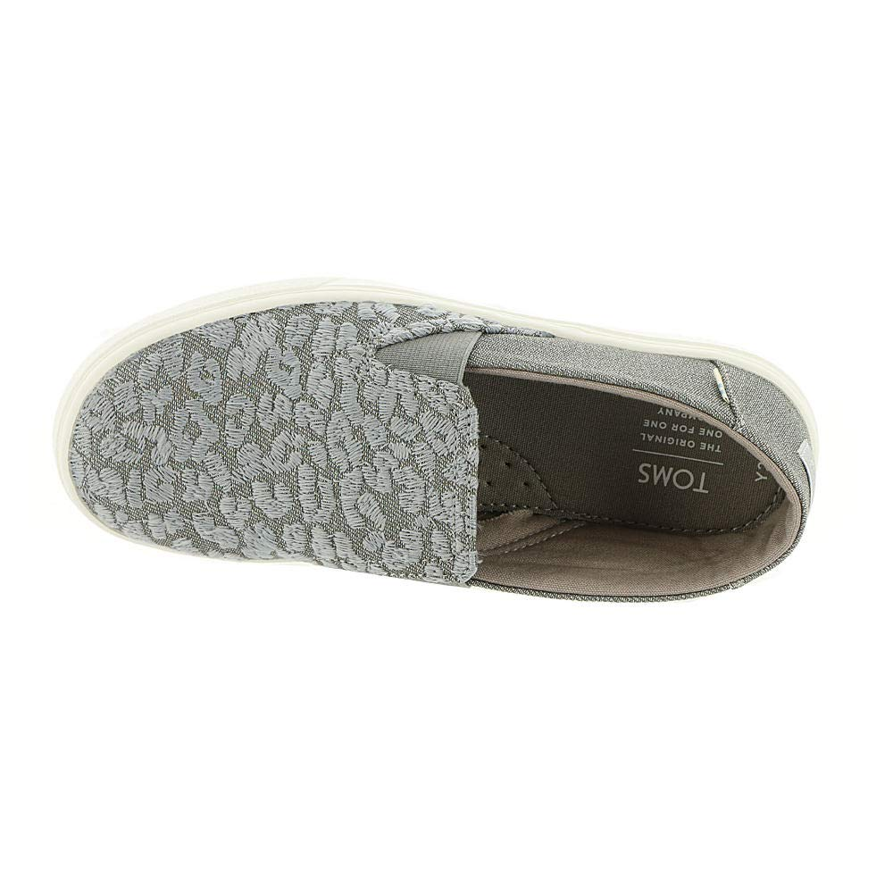 TOMS Neutral Grey Cheetah Embroidery Twill Glimmer Youth Luca Slip-Ons Shoes (12 M Little Kid) by TOMS Kids (Image #2)